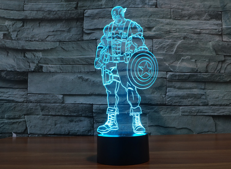 7 Colors Led Toys Captain America Shield Replica Civil War Superman 3D Table Lamp Hulk Action Figures The Avengers DC Comics high quality captain america 3 civil war vison pvc action figures vision model toys children collection toys 7 18 cm