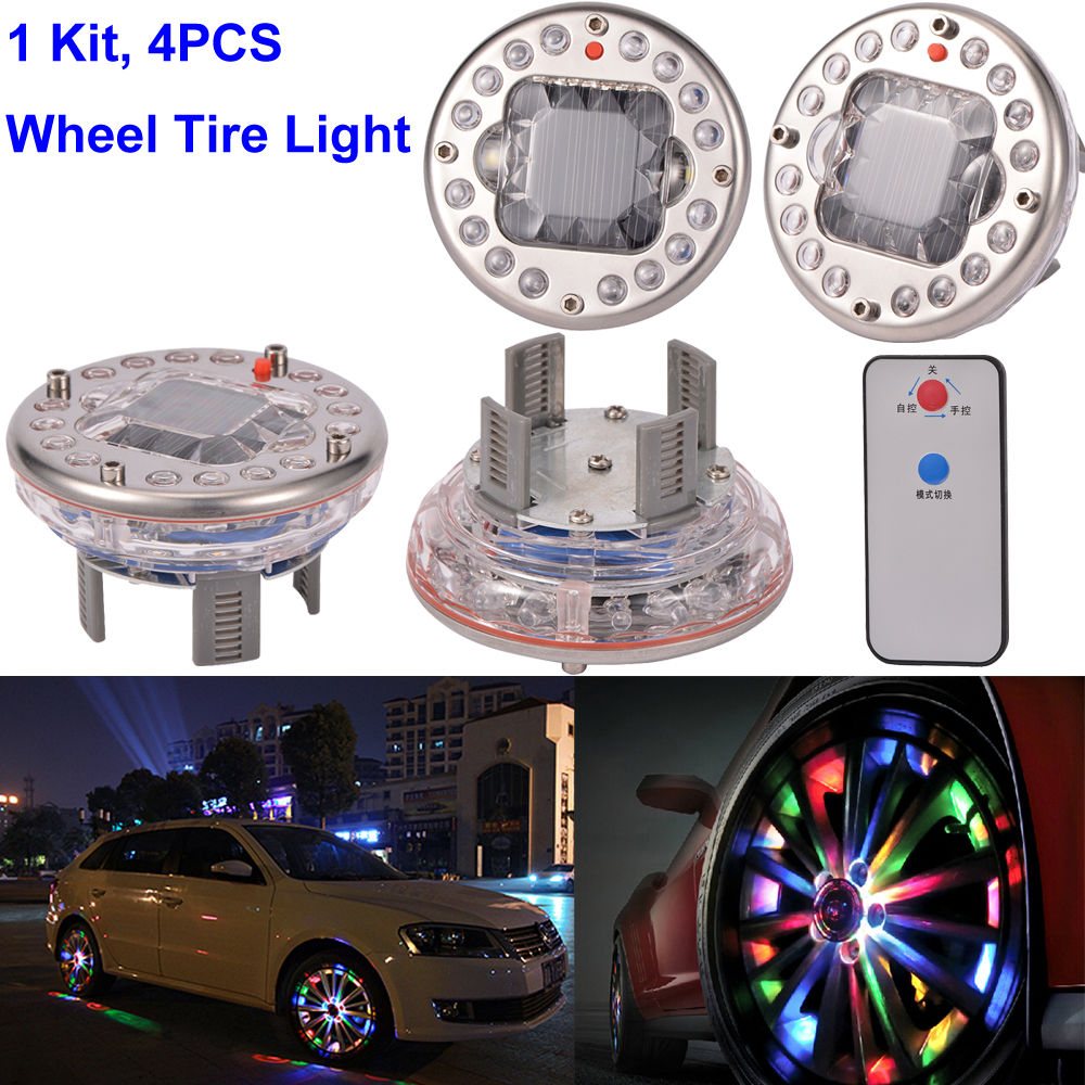 цена на 4x 7 color wireless Bright Car Wheel Decoration LED Lights Solar Energy Flash Tire Rim wheel Lamp light with remote control RGB