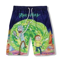Men Summer Beach Cotton Quick drying Mesh Fabric Cartoon Shorts Funny Board Shorts Beach Shorts Mens Sweat Shorts Fashion 2017