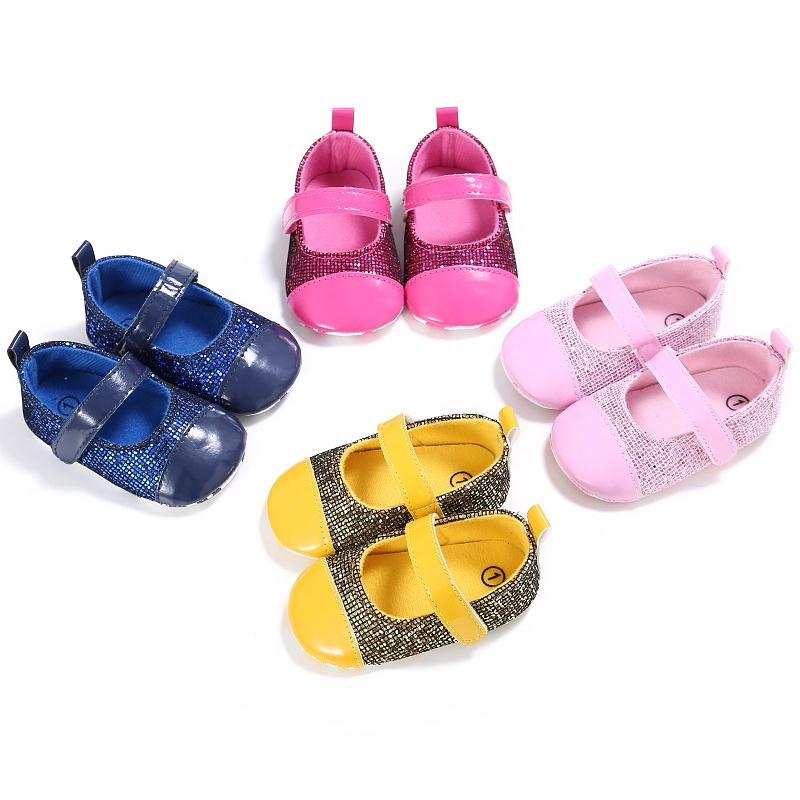 New Kids Girls Cute Spring Sequin Baby Patchwork Princess Style Non-slip Soft Bottom Cack Shoes