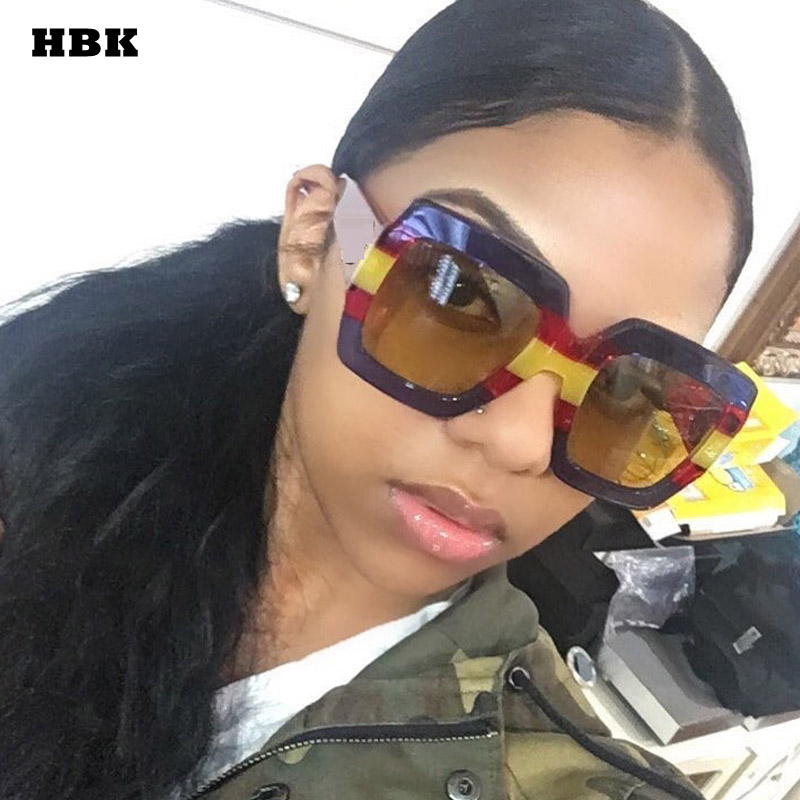 da985331d21b HBK 2018 Italy Oversized Sunglasses Women Brand Designer Retro Luxury Men  Square Sun Glasses For Female Lunettes De Sol UV400
