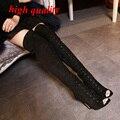 Lace up de caña alta botas mujeres bombas botte femme Sexy tacones Peep Toe sobre la rodilla gladiador zapatos de tacón botas largas botas negras Y757