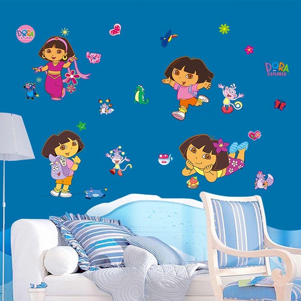 DIY Wall Stickers For Kids Rooms Lovely Dora Art Decals Home Decor Baby  Nursery Kindergarten Wallpaper