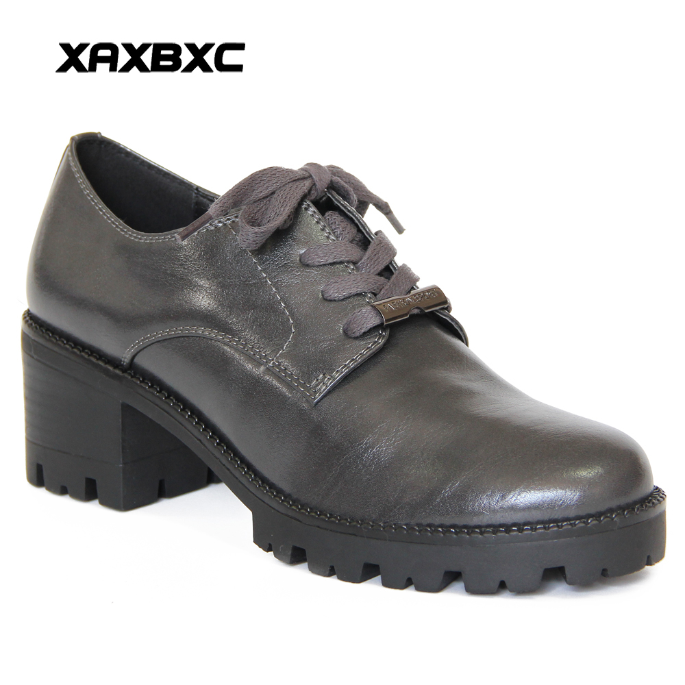 XAXBXC Retro British Style Leather Brogues Oxfords High Heels Women Shoes Platform Lace Up Thick Heel Handmade Casual Lady Shoes keddo womens lace up brogues