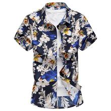 Hawaiian Shirt Men Dress Short-sleeved Floral Mens Shirts Casual Flower Blouse Clothing