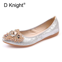 Spring women Ballet shoes leisure spring pointy ballerina bling Rhinestone flat shoes princess shiny Crystal wedding shoes woman