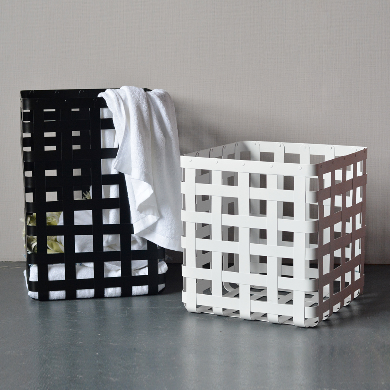 Brief and Modern Metal Black And White Grid Clothes Basket Cuboid Design storage Basket for Clothes Home Decor Accessories