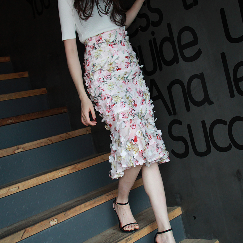 Verano S Longitud 2xl De Gratis Rosado Alta Elegante Moda Rodilla Mujeres Las Envío Cintura Gasa 2019 Flores Lápiz Faldas Calidad 6OPqwFqB