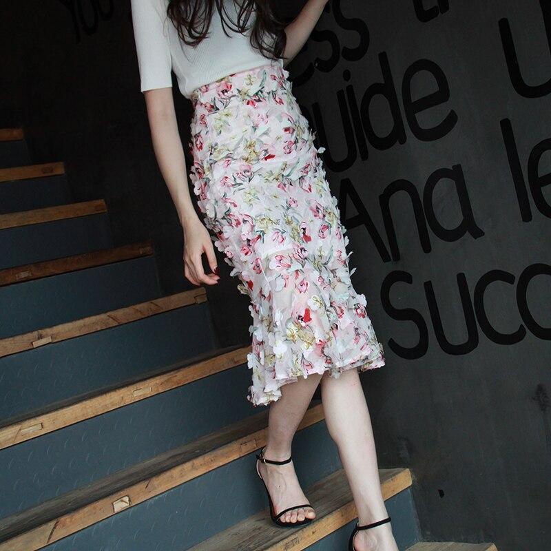 Free Shipping 2020 Fashion Elegant Knee Length Flowers Women Summer Skirts Pencil S-2XL High Waist High Quality Chiffon Skirts