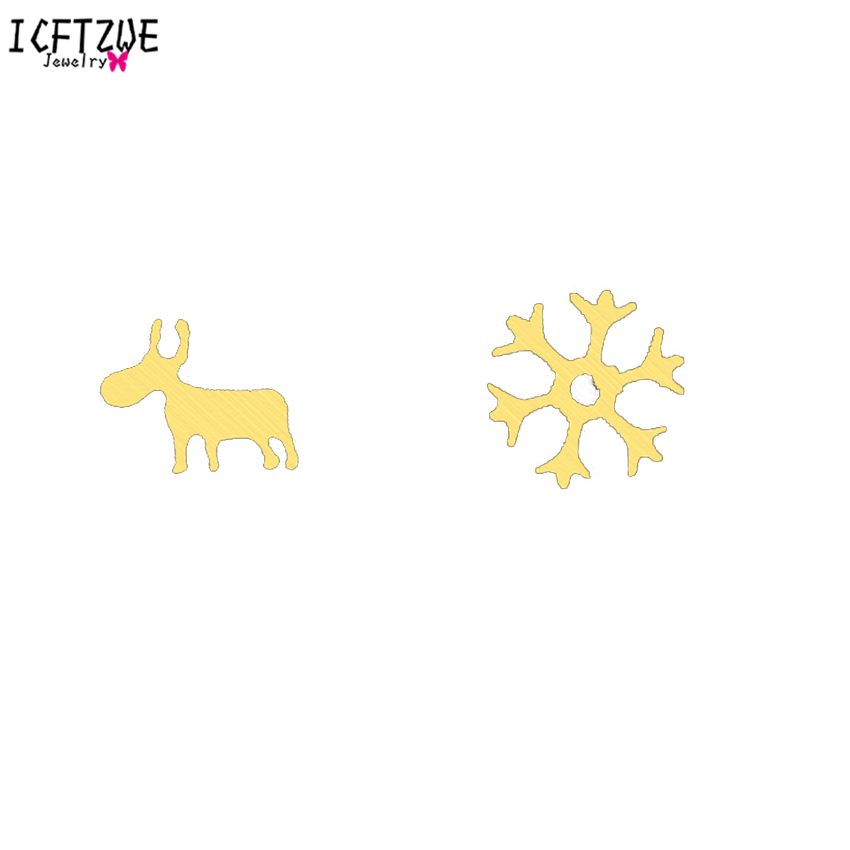10pairs Stainless Steel Asymmetry Christmas Rudolf Snowflake Gold Colour Pendientes Silver Earrings For Women Girls Best Gifts gold earrings for women
