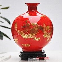 Jingdezhen Ceramic Vase Ornaments Chinese Red Dragon Floor Living Room  Decoration Vase Wedding Gift(China Part 96