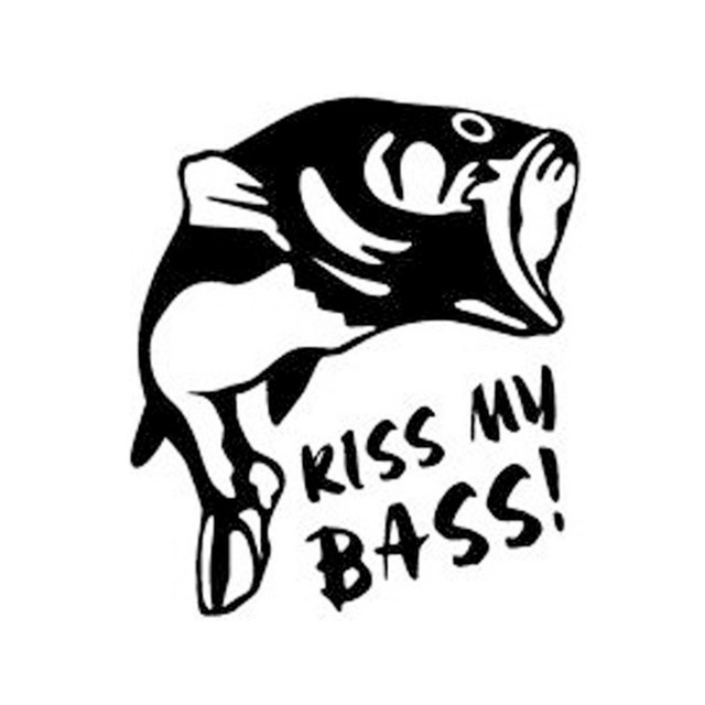Fun Kiss My Bass Fish Car Wall Door Truck Laptop Guitar Decal Window
