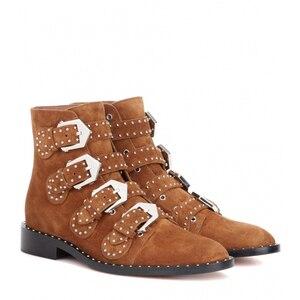 Image 2 - Ботинки женские с заклепками из натуральной кожи с острым носком и металлической пряжкой