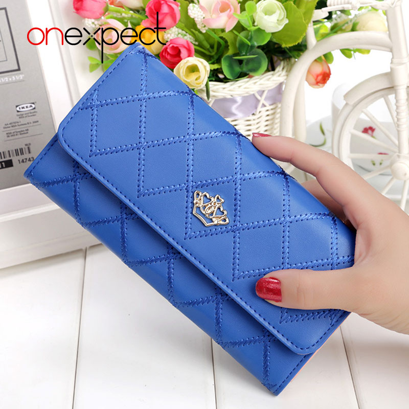 Onexpect 2017 New Fashion Women Wallet Brand Long Design Women Wallets Pu Leather Lattice Crown Female