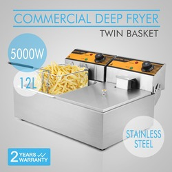 2 *6L Electrical Deep Fryer Basket 5000W Home Use For Fish 220V Two Tank