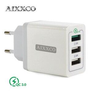 "Image 1 - AIXXCO 3 יציאות מהיר מטען QC 3.0 30W USB מטען עבור iphone 7 8 ipad סמסונג S8 Huawei Xiaomi מהיר מטען QC3.0 האיחוד האירופי/ארה""ב Plug"