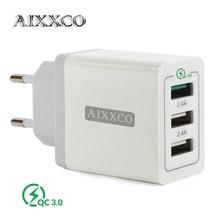 AIXXCO 3 พอร์ต Quick Charger QC 3.0 30W USB Charger สำหรับ iPhone 7 8 iPad Samsung S8 Huawei Xiaomi FAST Charger QC3.0 EU/US Plug