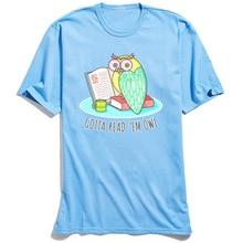 Reading Owl Top T-shirts Men Cute T Shirt Cartoon Blue Tshirt Leisure Short Sleeve New Arrival O-Neck 100% Cotton Tees Custom
