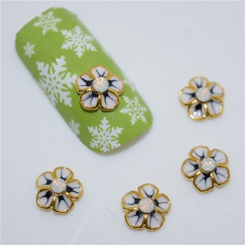 ᑐ10psc New Golden Flowers 3D Nail Art Decorations bce671694c5d