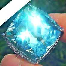 Exaggerated Inlaid  Blue Boulder Princess Ring Silver for Women Wedding Band Engagment Promise Jewelry