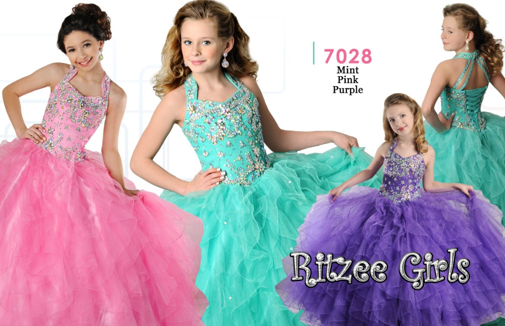 Little   Girls   Pageant   Dresses   Fashion Ball Gown Crystal Beaded Organza luxury   Flower     Girl     Dresses   with Halter Shining