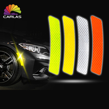 CARLAS 2Pcs/Set Safety Warning Light Car Wheel Rim Eyebrow Reflective Strip Stickers Protective Sticker Styling