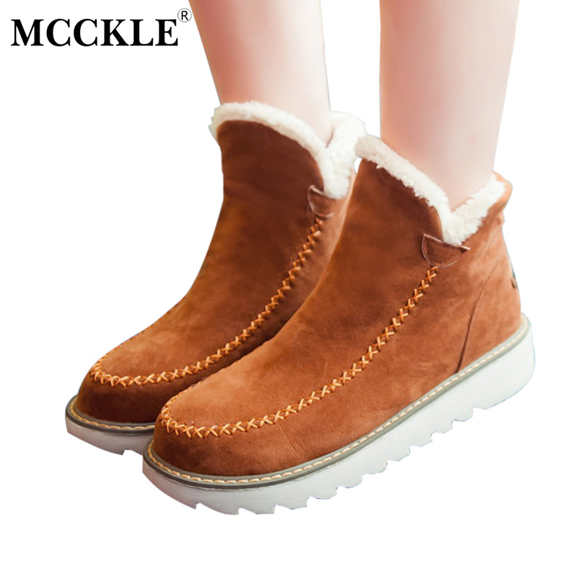 MCCKLE 2017 Ladies Winter Warm Plush Ankle Snow Boots Women's Slip On Sewing Flat Black Platform Fur Suede Shoes Plus Size 33-43 mcckle female winter warm plush ankle snow boots 2017 women fashion lotus leaf side fur slip on platform solid style shoes