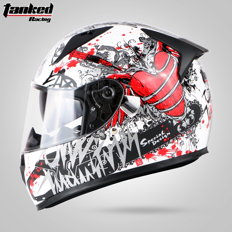 Tanked Racing Motorcycle Full face helmet dual lens anti-fog motorbike motorcross racing helmet Casco Capacete protective ECE 2017 new yohe full face motorcycle helmet yh 970 double lens motorbike helmets made of abs and pc lens with speed color 4 size