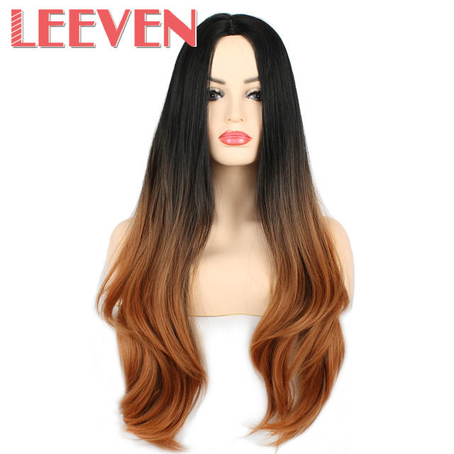 Online Shop Leeven 26   Synthetic Hair Cosplay Wigs Straight Black Ombre  Brown For Womens wig High Temperature Fiber Heat Resistant  f78ab0ea7b