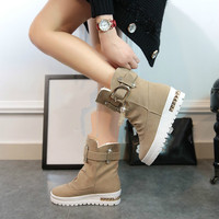 Winter Women S Boots High Heels Plus Velvet Swing Shoes Snow Platform Boots Female Thermal Cotton