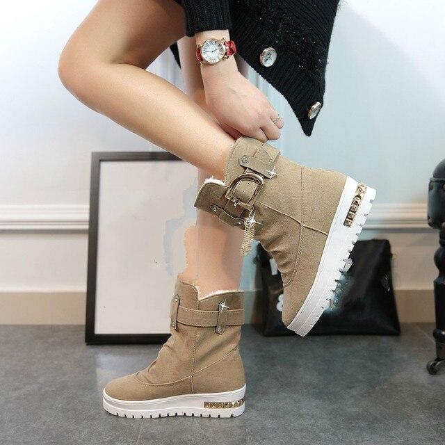 Новинка 2017 года Зимние женские ботинки плюс бархат Обувь для танцев зимние ботинки на платформе женские Термальность с хлопковой подкладкой Обувь Ботильоны на плоской подошве