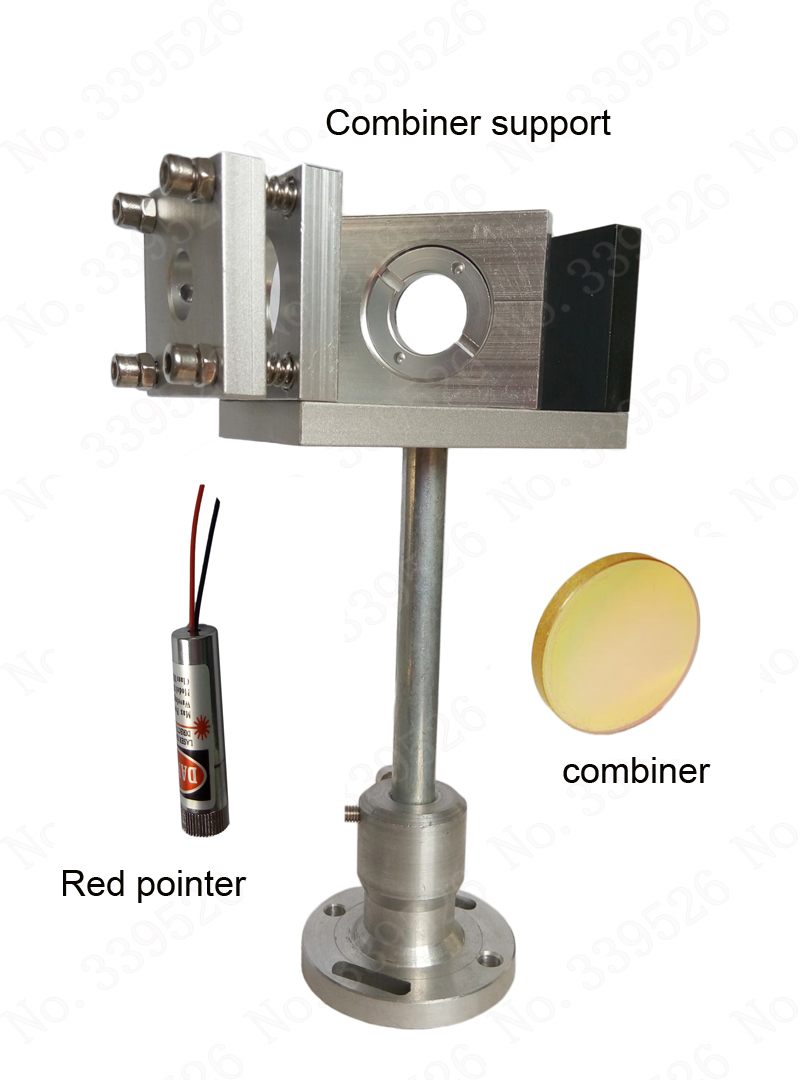 CO2 laser beam combiner support + 20mm beam combiner +red pointer  Whole set combiner system economic al case of 1064nm fiber laser machine parts for laser machine beam combiner mirror mount light path system