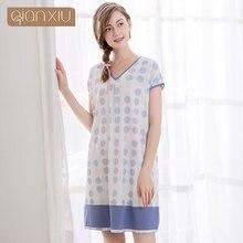 Qianxiu Большой Размер Ночная Рубашка Геометрическая Для Женщин Хлопок и Спандекс Летом Ночная Рубашка Для Девочек