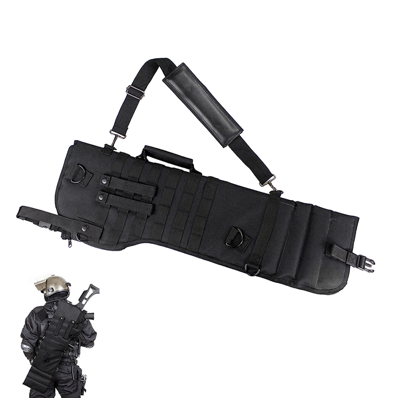 Tactical Shotgun Scabbard Holster Molle Rifle Sling Case Bag for Outdoor Hunting Black Military Long Gun Protection Carrier 0 85m heavy duty tactical gun slip bevel carry bag rifle case bag cover shoulder backup pouch hunting shotgun carrying case