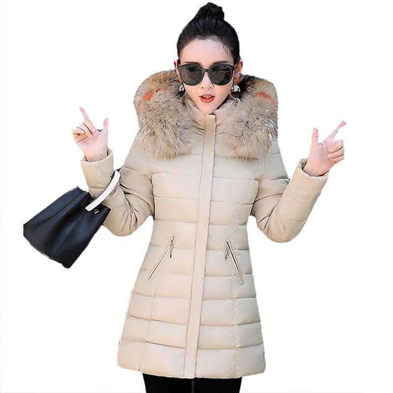 Women Winter Cotton Padded Jacket New Style Fashion Hooded Fur collar Coat Casual Slim Big yards Female Warm   Parkas   NZYDA1