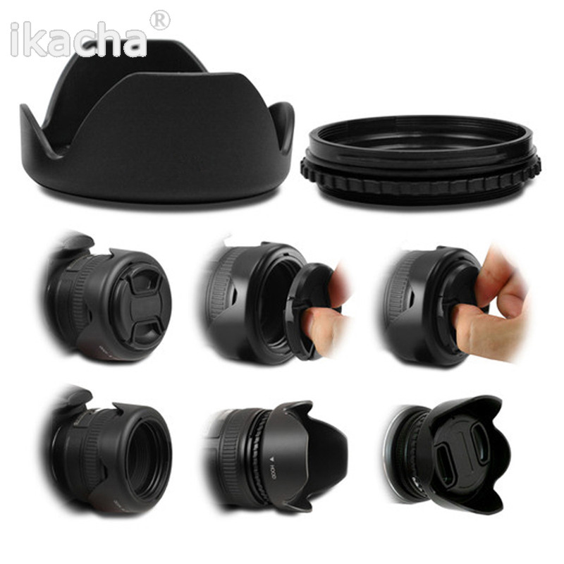 Hot 52 55 58 62 67 72 77mm Lens Hood Reversible Petal Flower DSIR for Canon Nikon Sony Pentax Camera Free Shipping Universal 5