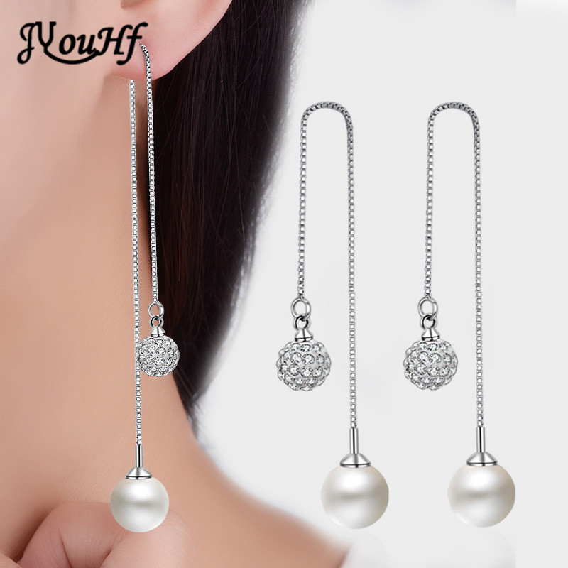 JYouHF Fashion Long Crystal Pearl Balls Pendant Earrings for Women Luxury Simple Double Balls Hanging Ear Wire Women Jewelry