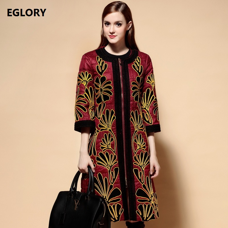 XXL Coat Winter Clothing 2017 Women High Quality Parka Down Allover Embroidery Fornt Zipper Casual Warm Parka Long Outerwear