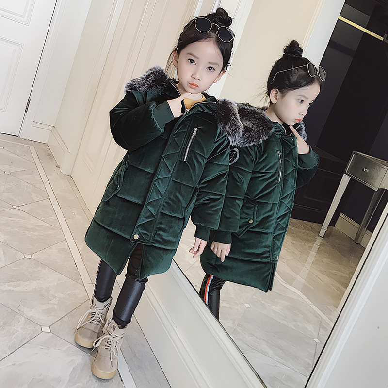 2017 girls Winter Down & Parkas children Long Big Fur Collar Down Jackets Girl Hooded Thickening Warm Velvet Jacket zioksy 2017 new winter long cotton coat warm hooded big fur collar thick jacket women parkas female overcoat plus size