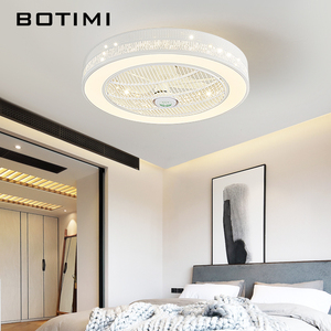 Image 1 - BOTIMI Modern LED Ceiling Fans With Lights For Living Room 220V Cooling Ventilador Round Ceiling Fan Lamp With Remote Control