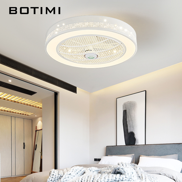 BOTIMI Modern LED Ceiling Fans With Lights For Living Room 220V Cooling Ventilador Round Ceiling Fan Lamp With Remote Control