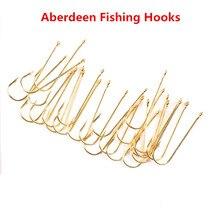 100pcs Shank Aberdeen Fishing Hooks Fresh Water Living Baits Hook Fish Jig Hooks PanFish Crappie Fishing Tackle Hook Gold