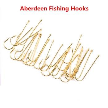 Vástago largo Aberdeen-anzuelos de pesca de agua dulce, aparejos de pesca dorados,...