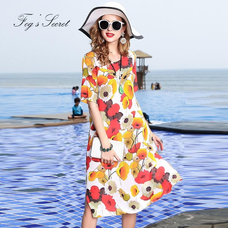 Imprimer Robe Taille Marque 2019 Conception Nature Soie Robes Réel Originale Fleur Pour Femmes Lâche D'été Multi Grande 7q7dYwASU