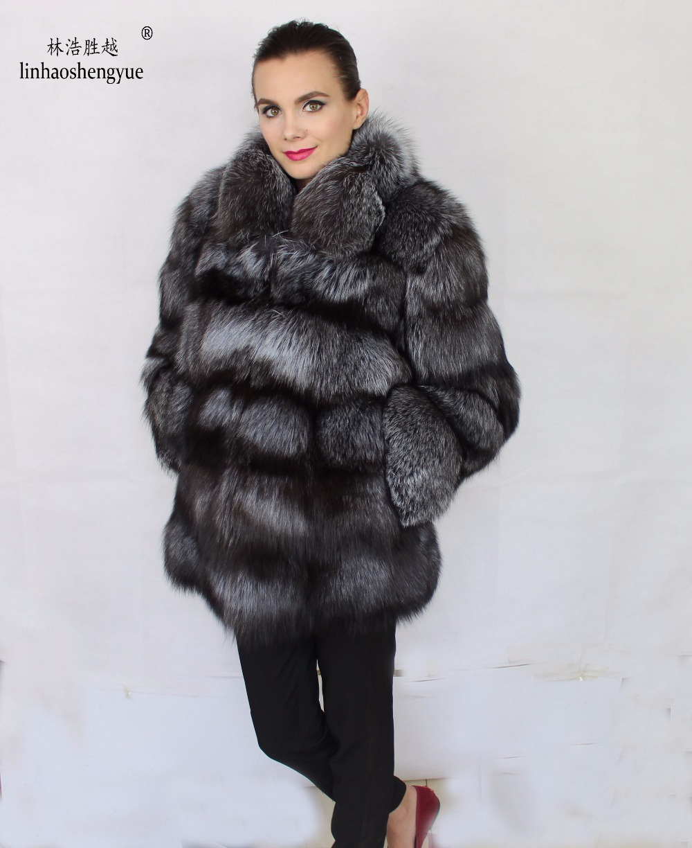 Silver Real Time Quote: Linhaoshengyue 2017Natural Real Silver Fox Fur Coat-in