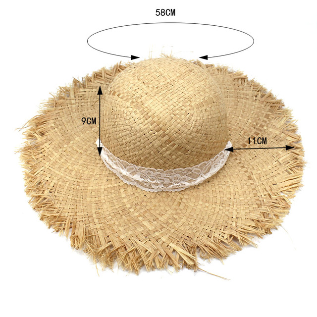 Simple Fashion Women Summer Hats Large Raffia Straw Hat Lace Ribbon Lace-Up Beach Caps Fashion Ladies Panama Sun Hat for Girl 3
