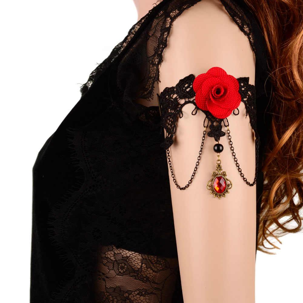 Đá quý Hnadmade Red Rose Flower Chuỗi Vòng Đeo Tay Armlet Cánh Tay Bangle Chiếc Băng Đồ Trang Sức