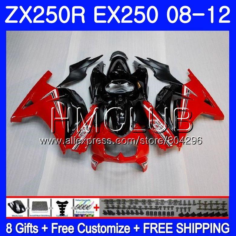 Bodys For KAWASAKI NINJA ZX-250R EX250 08 09 10 11 12 9HM.9 Red black ZX 250R EX 250 ZX250R 2008 2009 2010 2011 2012 Fairing