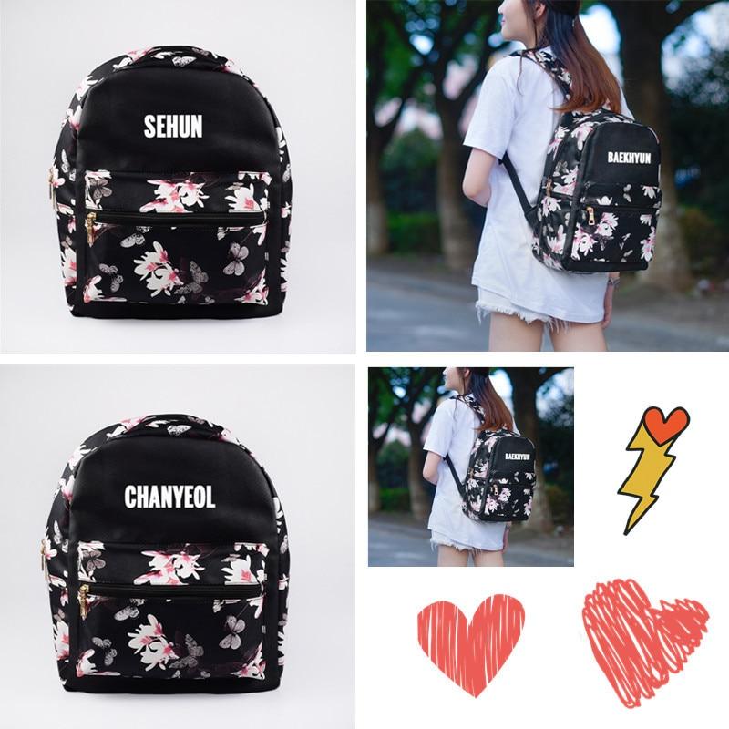 Cheap Sale Exo Korean Version Baekhyun Backpack Pu School Bag Floral Flower Bag Personality Small Backpack Women Backpack Leather Backpack Reliable Performance Backpacks Men's Bags