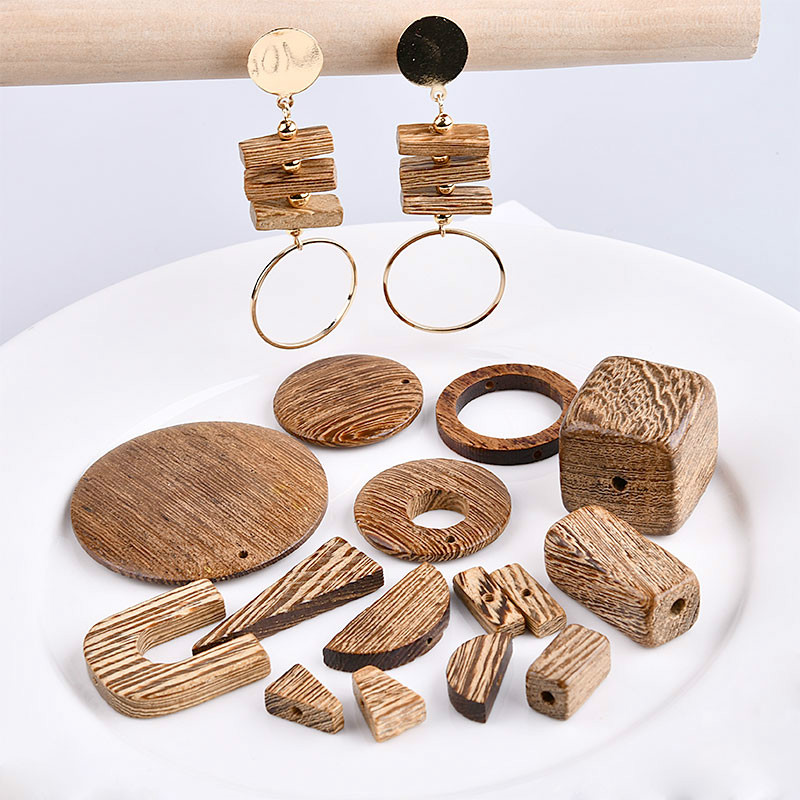 DIY Korea fashion retro Earrings ear clip material wood wooden jewelry accessories geometric coffee color недорого